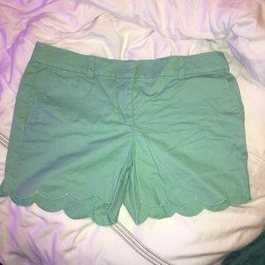 Loft Sea-foam Green Scalloped Chino Shorts
